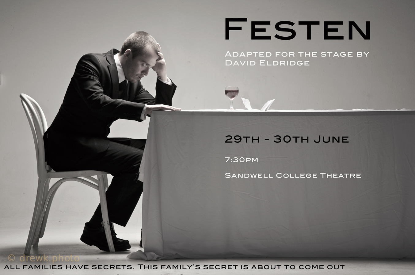 Festen Poster image for a Performing Arts dept. production