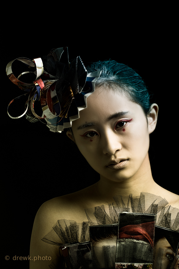 Dystopian (1) Ranen\'s designs for this shoot are made from recycled materials, and envision a post-climate change world. <br /> Model : Angela<br /> Stylist / Designer : Ranen Liao